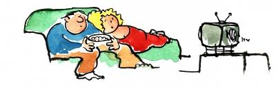 Couch Potato – Illustration by Frits Ahlefeldt / HikingArtist.com